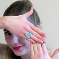 Statement Ring Heart Ring Turquoise Lace Ceramic Aqua Jewelry Silver Adjustable Cocktail Ring