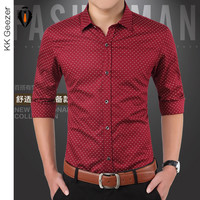Fashion Polka Dot Dress Shirts Long Sleeve Men Casual Shirt Slim Fit Cotton  Autumn Male Boys Dress Shirts Red