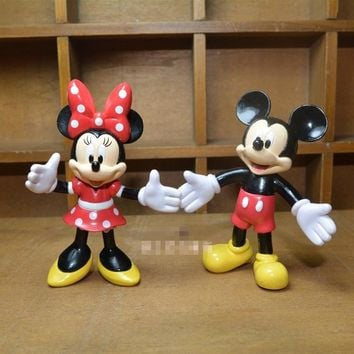7CM Couple Mickey Minnie Mouse PVC Action Figure Toy Mini Collectible Model Toy Keychain Key Chain Bag Pendant kids Gifts