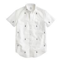 J.Crew Mens Lightweight Vintage Oxford Shirt With Embroidered Sails