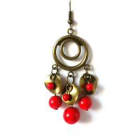 Red Dangle Earrings, Circle, Beaded, Long, Metal Earrings