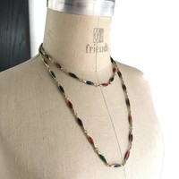 Lucite and Gold Tone Necklace, Multi Colored Lucite Necklace
