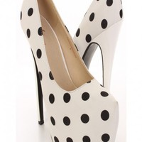 White Polka Dot Canvas Print Pump Heels