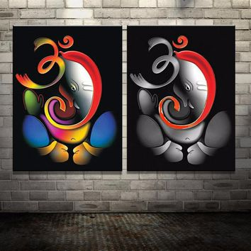 100% Hand-painted Om Ganesha Oil Painting Canvas Wall Art