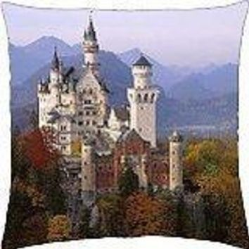 Neuschwanstein Castle in Autumn, Bavaria, Germany - Throw Pillow Cover Case (18