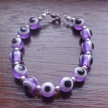 Beaded bracelet purple evil eye