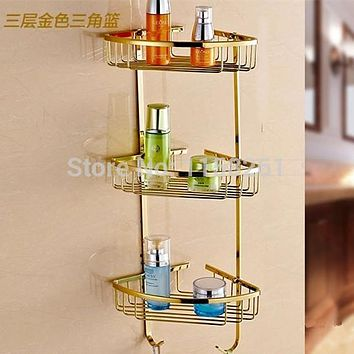Bathroom Shelves 3 Tier Metal Gold Shower Wall Shelf Corner Basket Shampoo Storage Rack Bath Accessories Towel Hooks