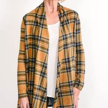 Mustard Plaid Open Cardigan