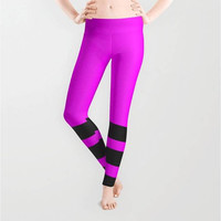 Fuchsia Black Stripes Leggings, X-Small,Small,Medium,Large,X-Large,Polyester,Spandex,Antimicrobial,Designer,Stripes,Print,Yoga,Jogging