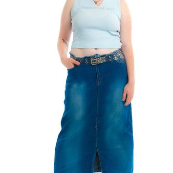 Vintage Y2K Denim Mix Maxi Skirt - XL/2X