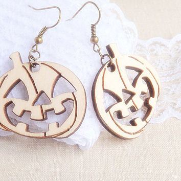 Halloween Earrings - Pumpkin Earrings - Vintage Style Pumpkin Earrings - Fall Earrings - Wood Jewelry - Wooden Jewelry Halloween Party Decor