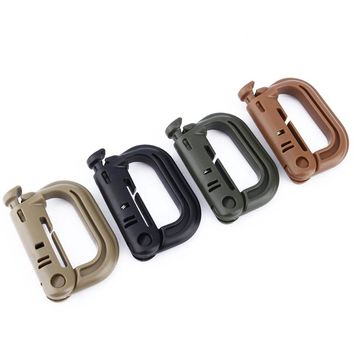 ABS Plastic D-Ring Carabiner  Key Chain Clip Hook Survival Camping Buckle Shackle Carabiner Locking Snap