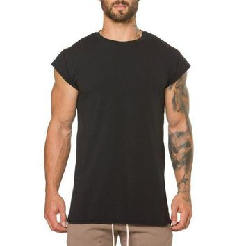 PEAPFS2 Brand clothing fitness t shirt men fashion extend long tshirt summer gyms short sleeve t-shirt cotton bodybuilding crossfit tops