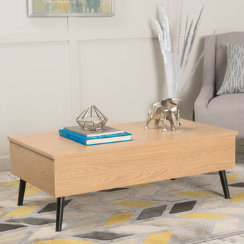 Caleb Brown Wood Lift Top Storage Coffee Table