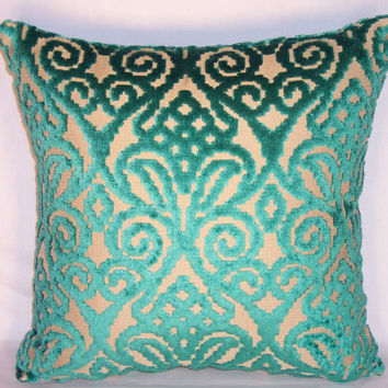 "Emerald Green Sculpted Chenille Throw Pillow Scroll Motif 17"" Square Ready to ship Cover and Insert"