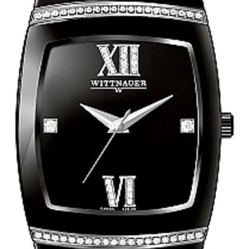 Wittnauer Ceramic Collection Men's Sapphire Black Ceramic Diamond Watch 12E20