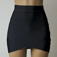 Women Cross Straps Tight Skirts Asymmetrical Hem Clubwear Slim Pencil Mini Skirt