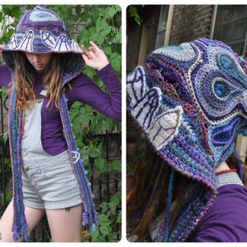 Crystal Caverns Freeform Crochet Hooded Scarf // Ooak Spirit Hood // Fiber Art Scarf