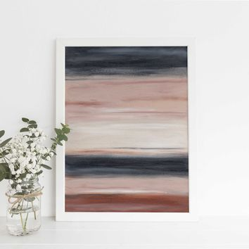 Neutral Beige and Navy Abstract Desert Landscape Wall Art Print