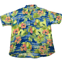 Vintage 90s Blue/Yellow Toucan Hawaiian Shirt Mens Size Large