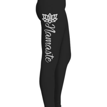 Namaste with Lotus Flower Printed Leggings for Women, Gifts for Yoga Lovers, Black Workout Pants, Ultra Soft High Waisted Sports Pants