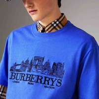 Burberry Fashion Blue White Big Logo House Print Tee Shirt Top B-YF-MLBKS Blue
