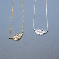 Feather Leaf Necklace in Gold / Silver
