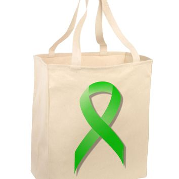 Lyme Disease Awareness Ribbon - Lime Green Large Grocery Tote Bag