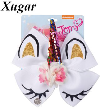 """6"""" Glitter Unicorn Hair Bows With Horn jojo Bows for Girls Sequin Flower Hair Clip School Kids Party Hairgrips Hair Accessories"""