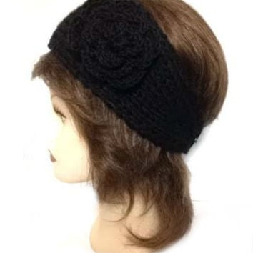 Women's Black Large Crochet Flower Adjustable 2 Button Stretch Headband Ear Warmer Crochet Headband