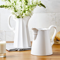 White Ceramic Farmhouse Milk Pitchers - Set of 2