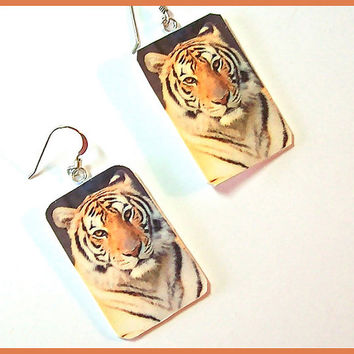 Tiger Earrings Polymer Clay Digital Image Transfer 1 in wide x 1 1/4  long Dangle Nature Series Art Earrings