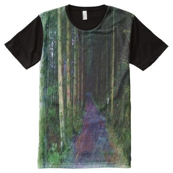 Forest Path Drawing All-Over-Print T-Shirt