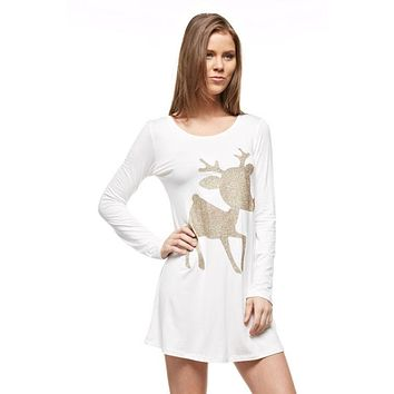 Glitter Rudolf the Reindeer Tunic Top - White - Kids sizes to 3XL