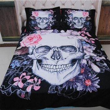 3D Skull Pink Flower Duvet Cover Bedding Set