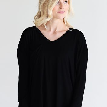 Black PIKO Long Sleeve V-Neck Pocket Tee