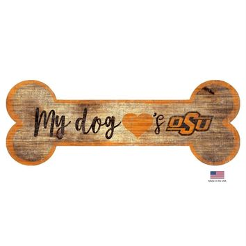 Oklahoma State Cowboys Distressed Dog Bone Wooden Sign