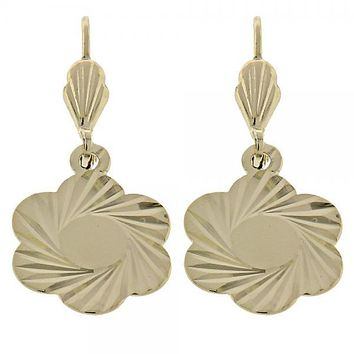 Gold Layered 5.098.015 Dangle Earring, Flower Design, Diamond Cutting Finish, Gold Tone