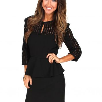 Go On Girl Black Peplum Dress | Monday Dress Boutique