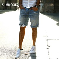 Summer New Casual Denim Shorts Men Jeans Pure Cotton Hole Ripped Clothing Knee Length Male