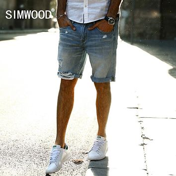SIMWOOD 2017 Autumn New Casual Denim Shorts Men Jeans 100% Pure Cotton Hole Ripped Brand Clothing Knee Length ND017001