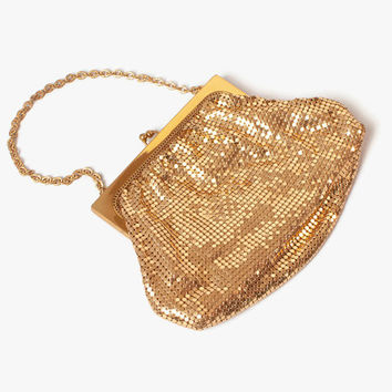 Vintage WHITING & DAVIS Purse / 1940s - 50s Shiny Gold Metal Mesh Evening Bag Unused