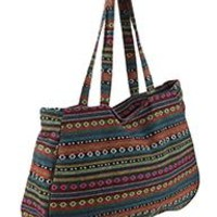 Pretty  TRIBAL Pattern Large Jumbo Tote Handbag Gym Travel Bag Multi Colored 20 W X 13 T