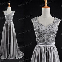 2014 Bead Crystals Grey V-Neck Shoulder Straps Waistband A-Line Long Ruffled Bridesmaid Dress, Court Train Chiffon Evening Party Prom Dress