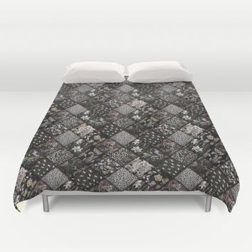 Faux Patchwork Quilting - Black Duvet Cover by Gravityx9