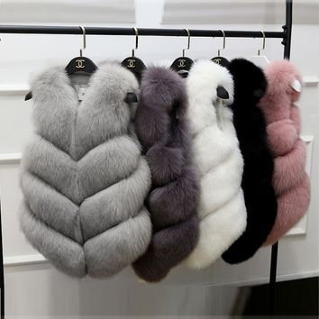 Autumn and winter fur vest imitation fox fur long paragraph vest vest
