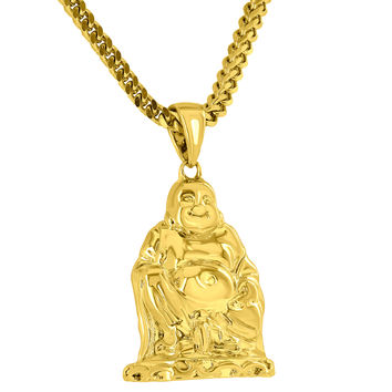 18K Yellow Gold Finish Buddha Pendant Chain Set
