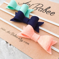 Peach Felt Bow Headband Set, Navy Blue Felt Bow Headband, Mint Green Felt Bow Headband, Felt Bow headband set, Baby Bow Headbands