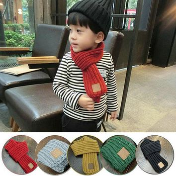 Fashion Kids Children Knitted Collar Winter Warm Scarf Baby Girls Neckerchief Neck Bib Hot Adult Scarfs