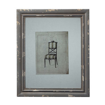 Sterling Industries 128-1029 Distressed Grey Picture Frame w/ Antique Chair Print